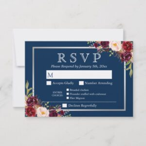 Invitation Suite: Burgundy Red Floral Navy Blue