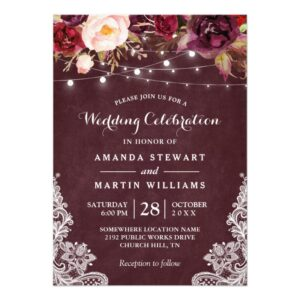 Marsala Floral String Lights Lace Invitation Suite