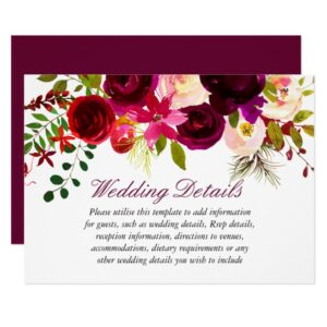 Burgundy Red Purple Floral Boho Wedding