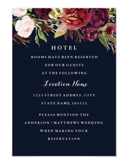 Navy Blue Burgundy Red Floral Wedding