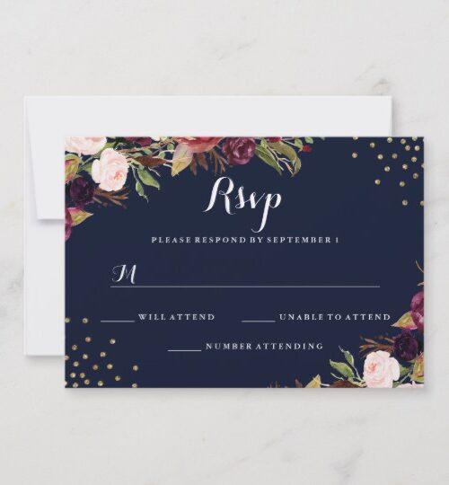 Navy Burgundy Gold Confetti Floral Wedding