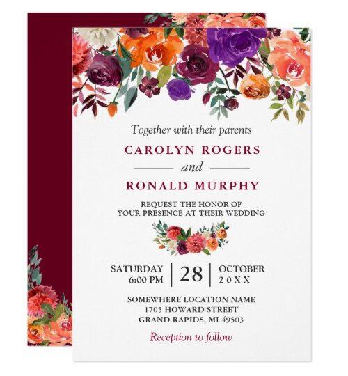 Burgundy Purple Orange Floral Invitation Suite