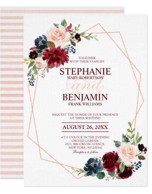 Burgundy Red Navy Floral Geometric Wedding Suit