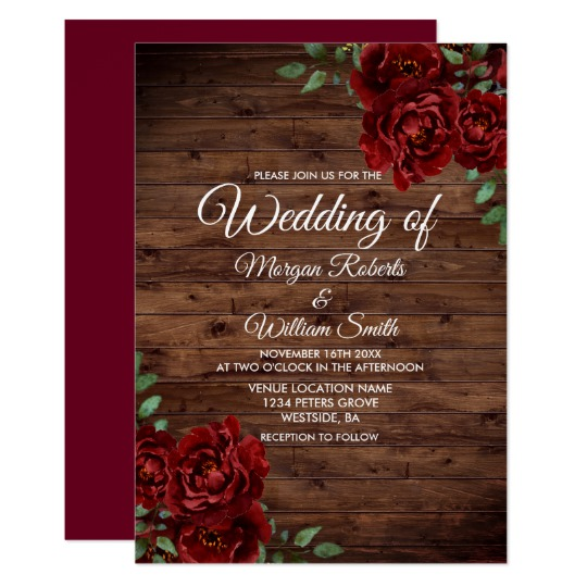 Burgundy Red Rose Rustic Wood Wedding Collection