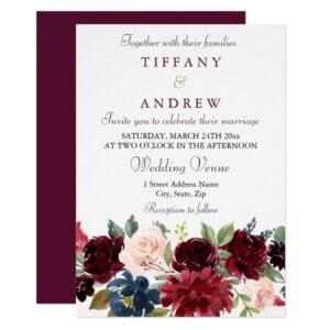 Burgundy Red Wine Flowers Modern Wedding Suite