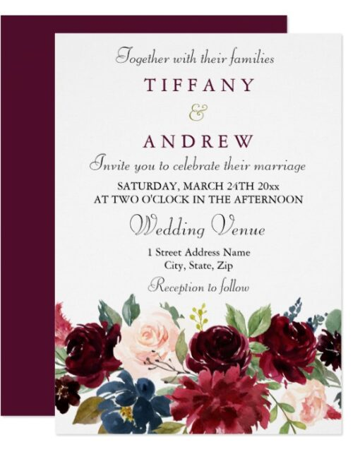 Burgundy Red Wine Flowers Modern Wedding Suite
