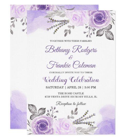 Watercolor Pastel Purple Floral Invitation Suite