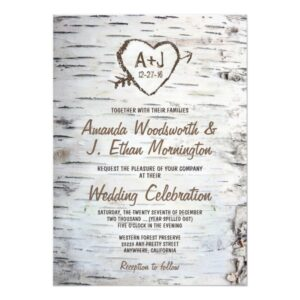 Birch Tree Bark Wedding Invitations Set