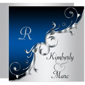 Blue and Silver Invitations