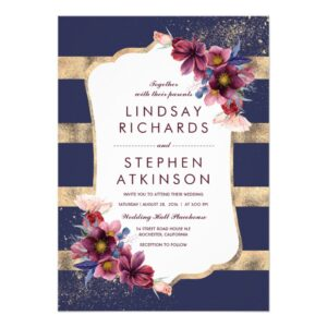 Navy and Burgundy Chic Flowers Stripes