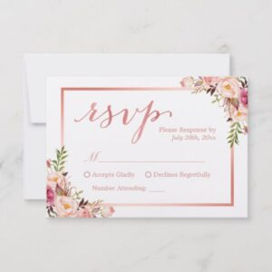 Invitation Suite: Elegant Chic Rose Gold Floral