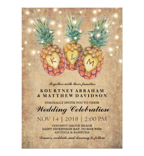 Exotic Tropical Pineapples Invitation Suite