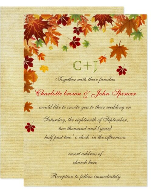 Rustic,Maple Leaves Fall Wedding Collection