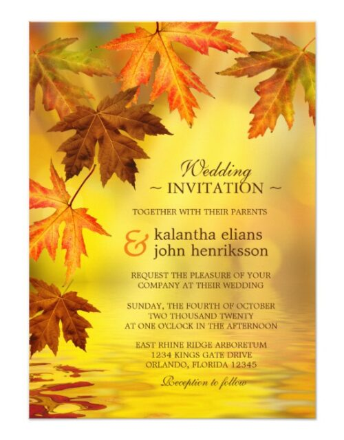 Fall Wedding Invitation Set With Falling Leaves 1