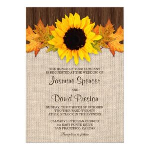 Sunflower And Fall Leaves Wedding Invitation Set