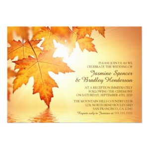 Fall Wedding Invitation Set With Orange Leaves