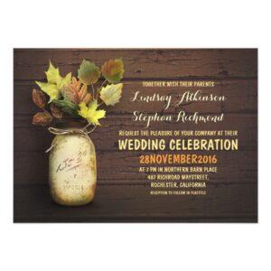 Fall Leaves Mason Jar Wedding Collection
