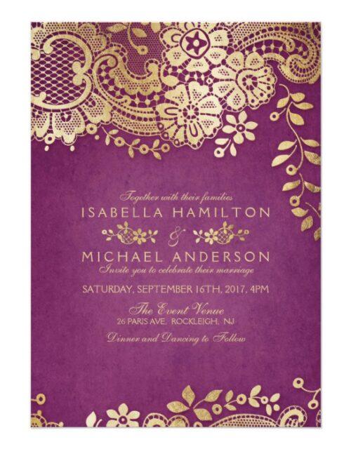 Modern gold elegant vintage lace wedding