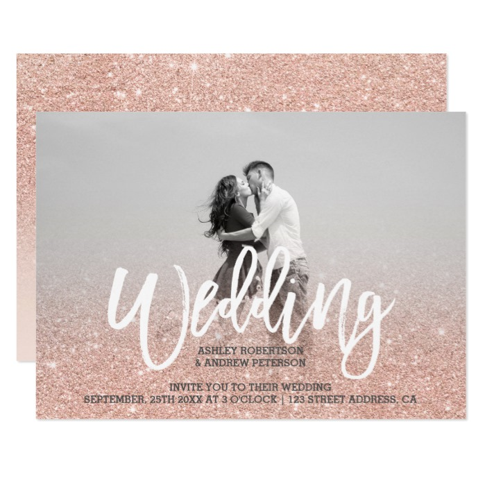 Rose Gold Faux Glitter Ombre Blush Pink Wedding Honor And Obey Wedding Gifts And Invitations