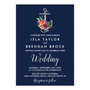 Floral Anchor Wedding Invitation Collection