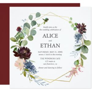 Navy Blue And Burgundy Floral Invitations