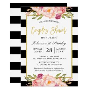 Invitation Suite: Modern Stripes Floral Decor