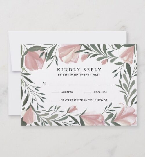 Floral Greenery Vintage Rustic Wedding Invitations