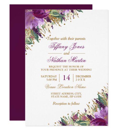 Floral Glitter Sparkling Amethyst Wedding
