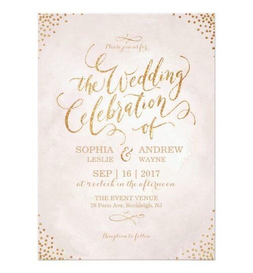 Blush rose Gold Calligraphy Wedding Suite