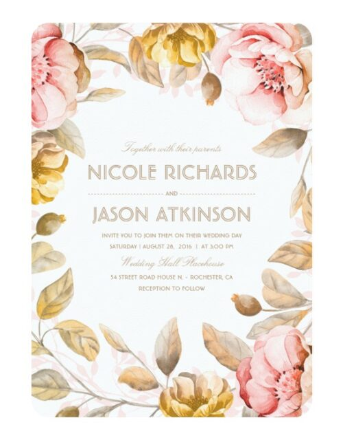 Blush and Gold Flowers