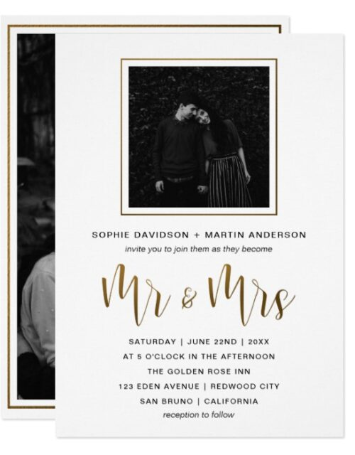 Gold & Black Typography | Photo Invitation Suite