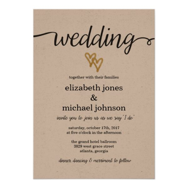 Gold Hearts Kraft Paper Wedding