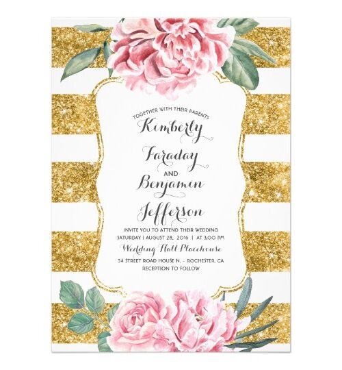 White and Gold Stripes Floral Elegance