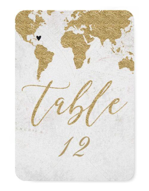 Gold Foil World Map Custom Destination Wedding