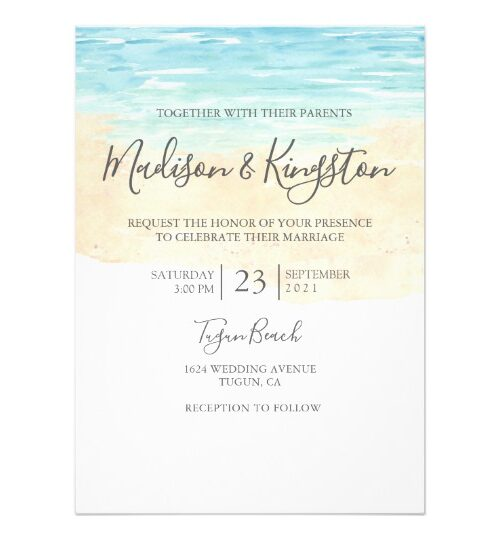Hand-Painted Watercolor Beach Wedding Collection