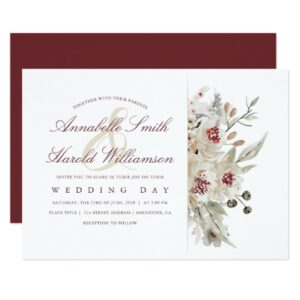 Burgundy and Ivory Flowers