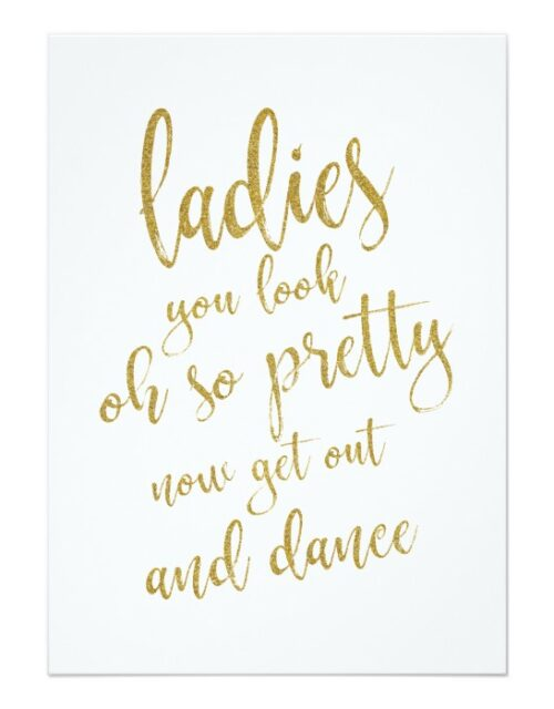 The Gold Glitter 5 x 7 Affordable Wedding Signs