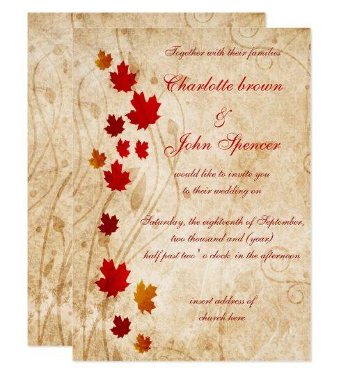 Fall Theme Wedding Invitations