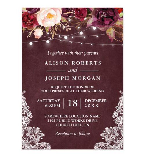 Marsala Floral String Lights Lace Invitation Suite