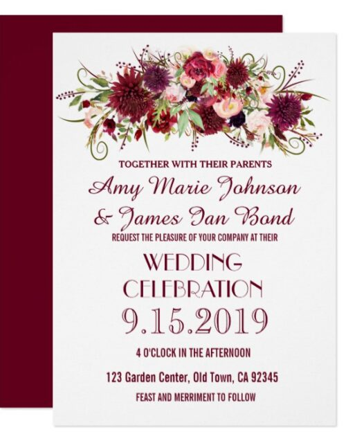 Marsala Red Burgundy Floral Invitations