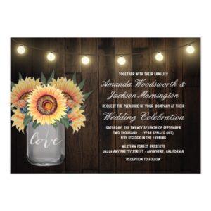 Lights Mason Jar + Sunflower Wedding Collection