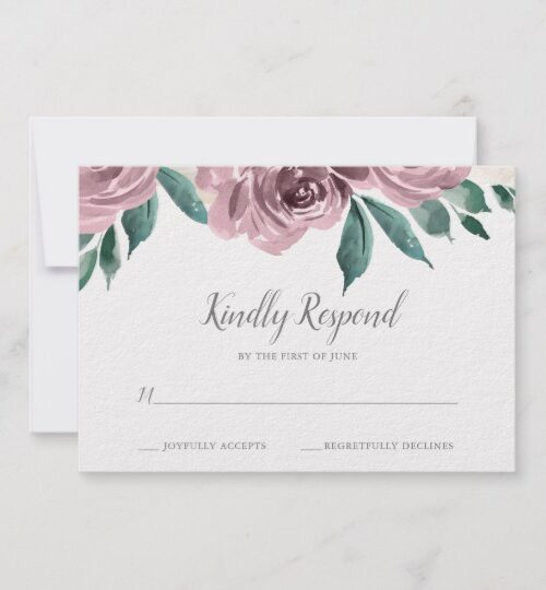 Mauve Watercolor Roses Floral Wedding