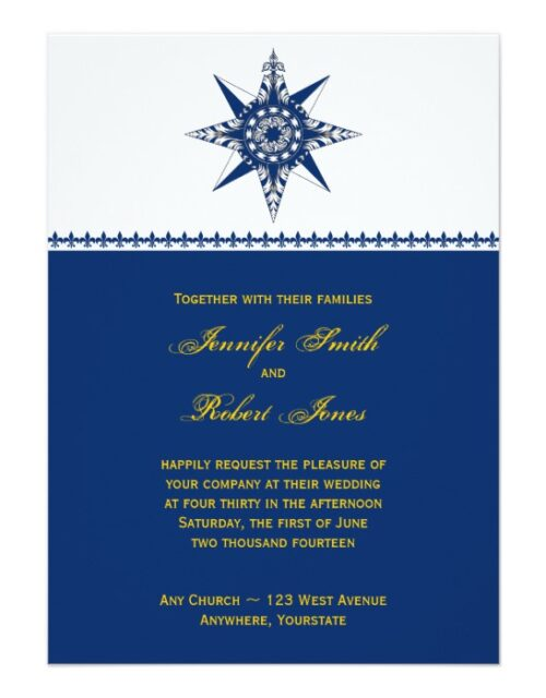 Naval Compass Rose in Navy and Yellow Wedding