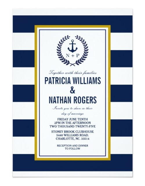 Modern and Bold Navy Stripes Nautical Wedding