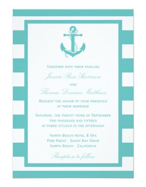 Nautical Turquoise Stripe Anchor Wedding