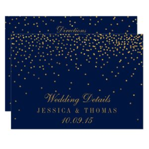 Navy Blue & Glam Gold Confetti Wedding