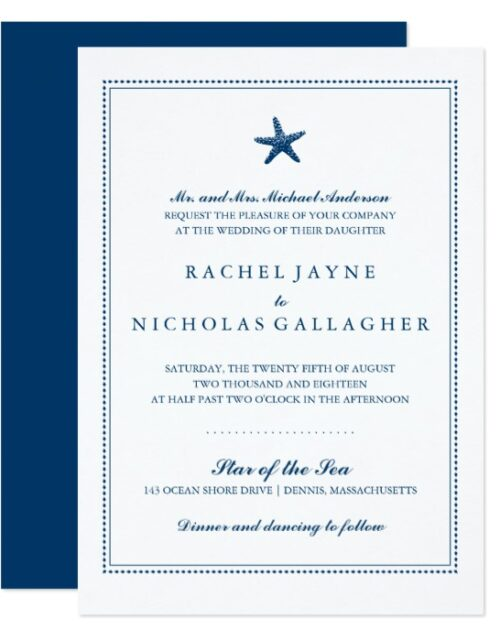 Graceful Starfish Wedding Navy Blue