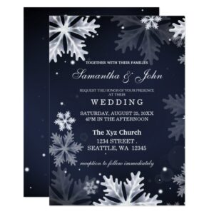 Navy Blue Snowflakes Winter Wedding Invitation