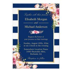 Invitation Suite: Floral Decor Navy Blue Stripes