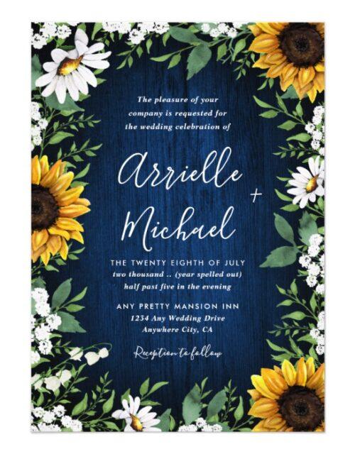 Navy Blue Sunflower Rustic Wedding Invitations Set